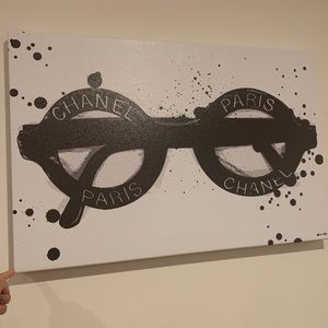 Chanel Paris black white sunglasses poster wall